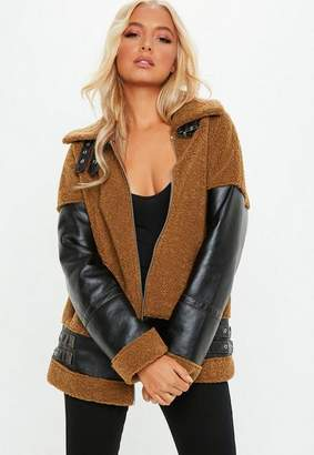 Missguided Tan Bonded Borg Faux Leather Aviator Jacket, Tan