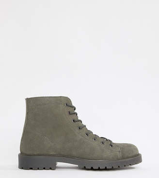 Asos Design DESIGN Wide Fit lace up boots in grey suede with grey sole
