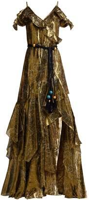 Peter Pilotto Off-the-shoulder silk-blend lamé dress