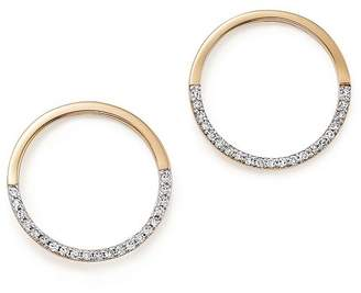 MATEO 14K Yellow Gold Small Half Moon Diamond Hoop Earrings