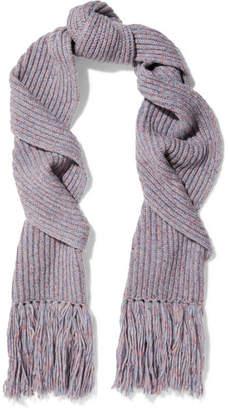 Rag & Bone Devin Fringed Ribbed Wool-blend Scarf - Purple