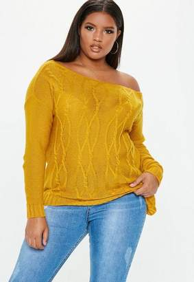 Missguided Plus Size Mustard Cable Knit Sweater