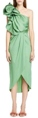 Johanna Ortiz Ruffle One-Shoulder Midi Dress