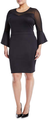 Avantlook Bell-Sleeve Sweetheart Illusion Dress, Plus Size