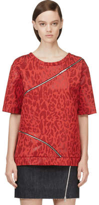 Jay Ahr Red Jacquard Leopard Zip-Trimmed T-Shirt