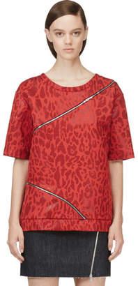 Jay Ahr Red Jacquard Leopard Zip-Trimmed T-Shirt