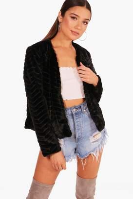 boohoo Crop Panelled Faux Fur Coat