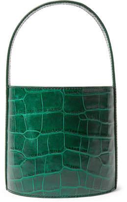 STAUD - Bissett Croc-effect Leather Bucket Bag - Dark green