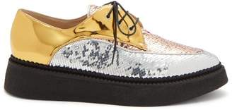 No. 21 - Sequin Embellished Leather Lace Up Creepers - Womens - Silver Gold