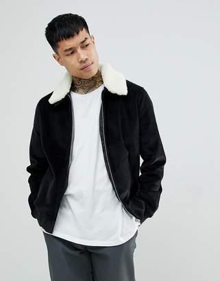 Asos DESIGN cord jacket with fleece collar in black