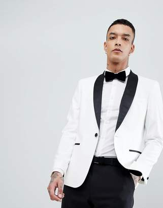 Asos DESIGN slim tuxedo suit jacket in white with black contrast lapel