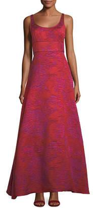 Aidan Mattox Scoop-Neck A-Line Asymmetric Dress