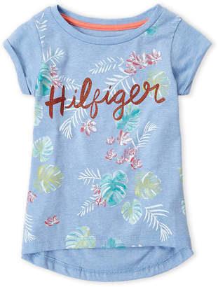 Tommy Hilfiger Girls 4-6x) Blue Palm Logo Tee