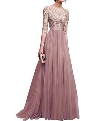 BIUBIU Women's Vintage Floral Lace Evening Prom Ball Gown Long Party Dress S