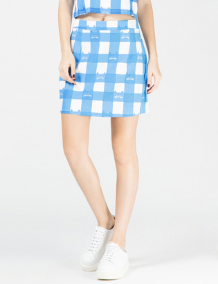 LAZY OAF Blue Cat Gingham A-Line Skirt $70 thestylecure.com
