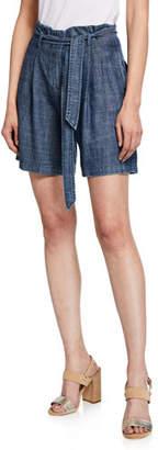 Trina Turk Fleet Crosshatch Chambray Shorts with Tie-Belt