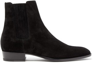Saint Laurent Wyatt Suede Chelsea Boots - Mens - Black