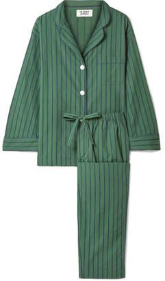 Sleepy Jones - Marina Striped Cotton-poplin Pajama Set - Dark green