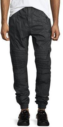 PRPS Maverick Cargo-Pocket Moto Jogger Pants, Black $375 thestylecure.com