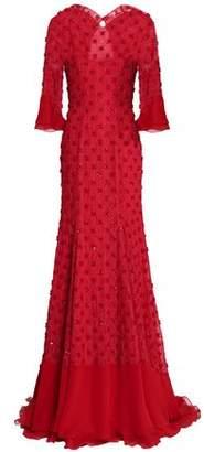Jenny Packham Open-Back Embellished Lace Gown