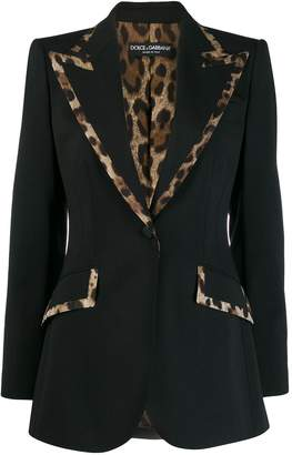 Dolce & Gabbana animal print trim blazer