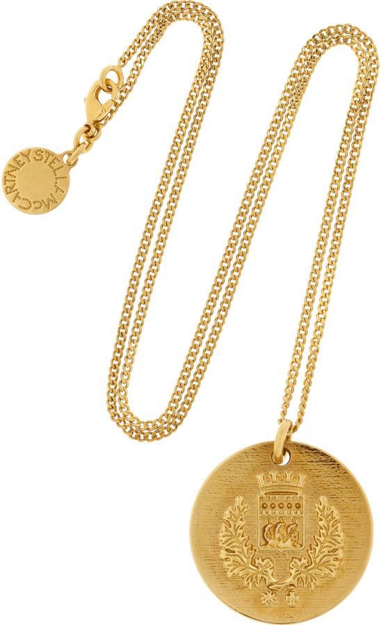 Stella McCartney Crest-embossed gold-tone pendant necklace