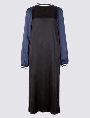 Limited Edition Colour Block Long Sleeve Shift Midi Dress