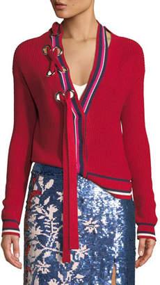 Tanya Taylor Greta Lace-Up Striped Knit Cardigan