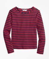 Brooks Brothers (ブルックス ブラザーズ) - 【オンライン限定SALE】GIRLS ストレッチコットンリブ ストライプ ロングスリーブ Tシャツ