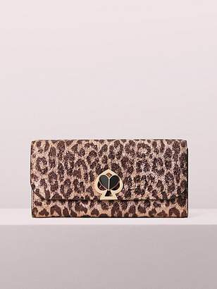 Kate Spade Nicola Metallic Leopard Twistlock Flap Continental Wallet, Rose Gold