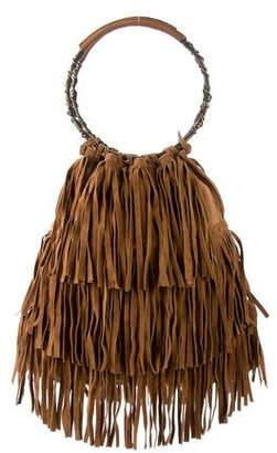 Valentino Fringe Suede Handle Bag