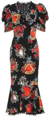 Dolce & Gabbana Printed silk-blend crepe midi dress