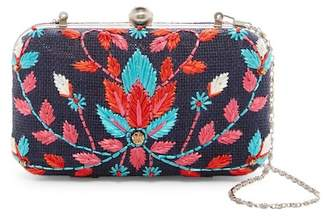 G Lish G-Lish Embroidered Abstract Hard Case Clutch
