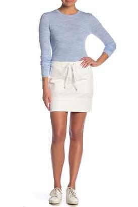 Theory Stretch Cotton Drawstring Mini Skirt
