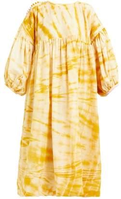 story. Mfg - Mon Tie Dye Cotton Smock Midi Dress - Womens - Yellow