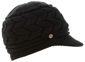 Dune - Black 'Farren' Knitted Flat Peak Hat