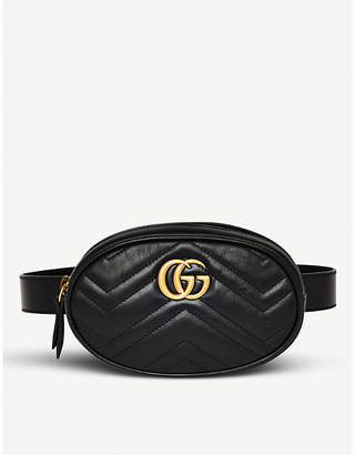 Gucci Black Quilted Marmont Leather Belt Bag