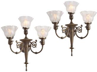 Rejuvenation Pair of Stately 3-Light Victorian Torch Sconces