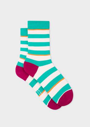 Paul Smith Women's Turquoise And Ecru Stripe Socks