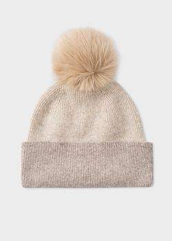 Women's Ecru And Cream Pom-Pom Wool Hat