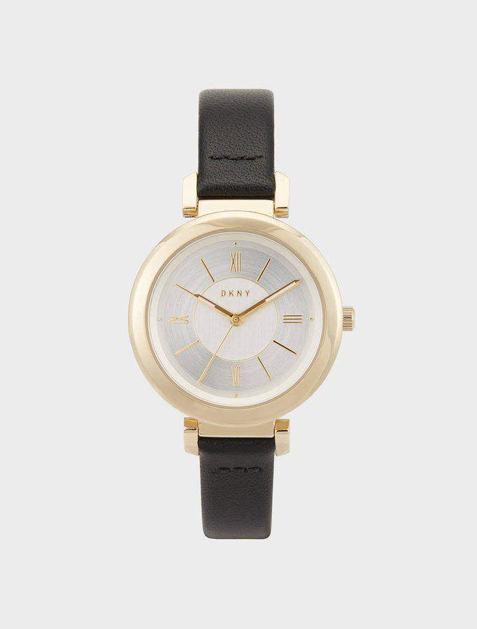 DKNY Ellington 34mm Black Leather With Gold-Tone Watch