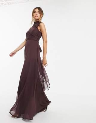 Asos Design DESIGN high neck maxi dress with wrap waist detail