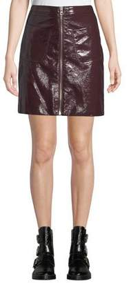McQ Zip-Front Coated Cotton Mini Skirt w/ Patch Pockets