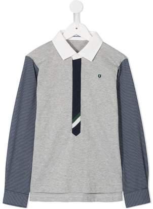 Familiar mismatch half placket shirt