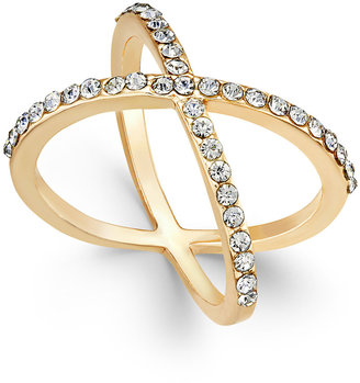 INC International Concepts Criss Cross Rhinestone Rings, Only at Macy's $26.50 thestylecure.com