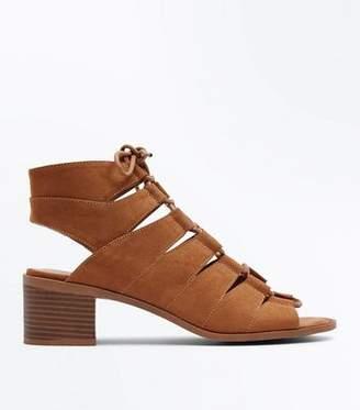 New Look Tan Suedette Low Block Heel Ghillie Sandals