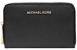 Michael Kors Michael Jet Set Leather Zip-Around Card Case