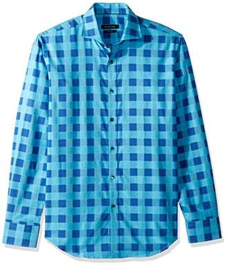 Bugatchi Men's Tappered Plaid Spread Collar Long Sleeve Shirt