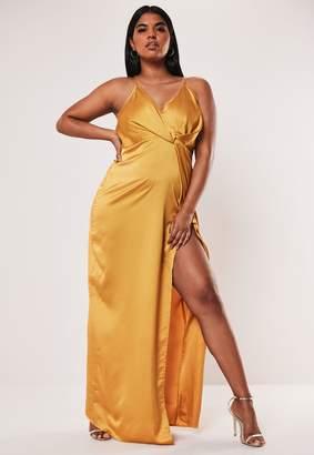Missguided Plus Size Mustard Satin Twist Cami Maxi Dress