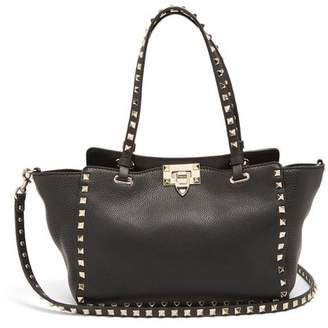 Valentino Rockstud Small Leather Tote - Womens - Black